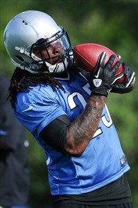 July 28, 2012; Allen Park, MI, USA; Detroit Lions running back Mikel Leshoure (25) completes drills during training camp at the Detroit Lions training facility. Mandatory Credit: Tim Fuller-US PRESSWIRE