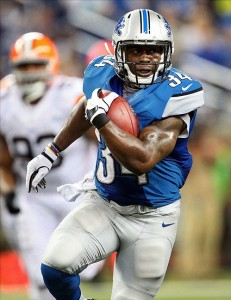 August 10, 2012; Detroit, MI, USA; Detroit Lions running back Keiland Williams (34) runs for 1st down during the first half between the Detroit Lions and the Cleveland Browns at Ford Field. Mandatory Credit: Mike Carter-US PRESSWIRE