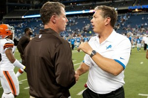 Aug 10, 2012; Detroit, MI, USA; Cleveland Browns head coach Pat Shurmur (left) is congratulated by Detroit Lions head coach Jim Schwartz (right) after the preseason game at Ford Field. Cleveland defeated Detroit 19-17. Mandatory Credit: Tim Fuller-US PRESSWIRE