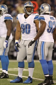 August 17, 2012; Baltimore, MD, USA; Detroit Lions tackle Ndamukong Suh (90) talks with defensive end Cliff Avril (92) their preseason game against the Baltimore Ravens at M