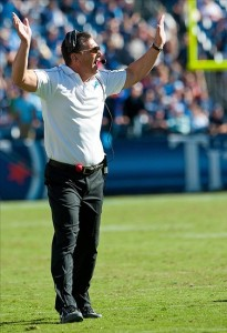 Sep 23, 2012; Nashville, TN, USA; Detroit Lions head coach Jim Schwartz reacts during overtime in the game against the Tennessee Titans at LP Field. Tennessee defeated Detroit 44-41 in overtime. Mandatory Credit: Jim Brown-US PRESSWIRE