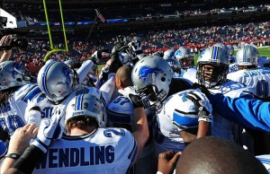Oct 30, 2011; Denver, CO, USA; Members of the Detroit Lions huddle up before the start of the game against the Denver Broncos at Sports Authority Field. The Lions defeated the Broncos 45-10. Mandatory Credit: Ron Chenoy-US PRESSWIRE