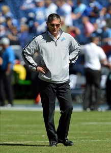 Sep 23, 2012; Nashville, TN, USA; Detroit Lions head coach Jim Schwartz watches his team warm up before a game against the Tennessee Titans at LP Field. Mandatory credit: Don McPeak-US PRESSWIRE
