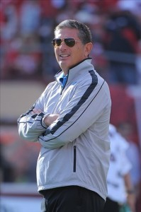 September 16, 2012; San Francisco, CA, USA; Detroit Lions head coach Jim Schwartz watches warm ups before the game against the San Francisco 49ers at Candlestick Park. Mandatory Credit: Kyle Terada-US PRESSWIRE
