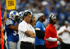 Sep 30, 2012; Detroit, MI, USA; Detroit Lions head coach Jim Schwartz looks onto the field against the Minnesota Vikings during the fourth quarter at Ford Field. Vikings defeat the Lions 20-13. Mandatory Credit: Raj Mehta-US PRESSWIRE