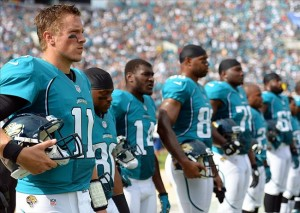 Sep 30, 2012; Jacksonville, FL, USA; Jacksonville Jaguars quarterback Blaine Gabbert (11) before a game against the Cincinnati Bengals at Everbank Field. Mandatory Credit: Jake Roth-US PRESSWIRE