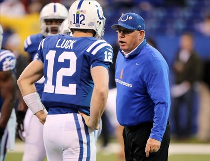 Nov 25, 2012; Indianapolis, IN, USA; Indianapolis Colts coach Bruce Arians (right) talks to quarterback Andrew Luck (12) before the game against the Buffalo Bills at Lucas Oil Stadium. Mandatory Credit: Brian Spurlock-US PRESSWIRE