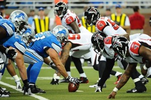 Oct 23, 2011; Detroit, MI, USA; Atlanta Falcons defensive line lines up against the Detroit Lions offensive line during the first quarter at Ford Field. Mandatory Credit: Tim Fuller-USA TODAY Sports