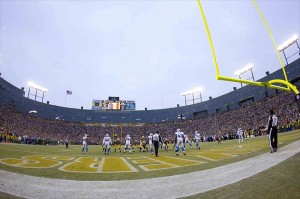 Jan 1, 2012; Green Bay, WI, USA; The Detroit Lions and Green Bay Packers play at Lambeau Field.  The Packers defeated the Lions 45-41.  Mandatory Credit: Jeff Hanisch-USA TODAY Sports