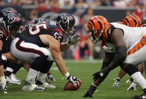Jan 07, 2012; Houston, TX, USA; Houston Texans center Chris Myers (55) prepares to snap the ball during the first quarter of the 2011 AFC wild card playoff game against the Cincinnati Bengals at Reliant Stadium. Mandatory Credit: Troy Taormina-USA TODAY Sports