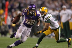 Dec 30, 2012; Minneapolis, MN, USA; Minnesota Vikings running back Adrian Peterson (28) carries the ball during the fourth quarter against the Green Bay Packers at the Metrodome. The Vikings defeated the Packers 37-34. Mandatory Credit: Brace Hemmelgarn-USA TODAY Sports