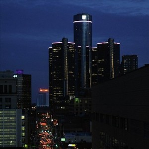 Oct 10, 2011; Detroit, MI, USA; A view of downtown Detroit with the Renaissance Center in the background before the game between the Detroit Lions and the Chicago Bears at Ford Field. Mandatory Credit: Tim Fuller-USA TODAY Sports