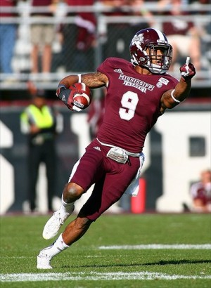 Nov 03, 2012; Starkville, MS, USA; Mississippi State Bulldogs defensive back Darius Slay (9) points out where he needs a block after making an interception during the game against the Arkansas Razorbacks at Davis Wade Stadium. Mississippi State Bulldogs defeated the Arkansas Razorbacks 45-14. Mandatory Credit: Spruce Derden–USA TODAY Sports