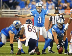 Dec 30, 2012; Detroit, MI, USA; Detroit Lions quarterback Matthew Stafford (9) changes the play at the line of scrimmage against the Chicago Bears during the first quarter of a game at Ford Field. Mandatory Credit: Mike Carter-USA TODAY Sports