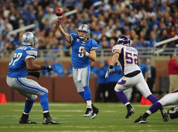 Dec 11, 2011; Detroit, MI, USA; Detroit Lions quarterback Matthew Stafford (9) throws a pass to tight end Brandon Pettigrew (87) during the first quarter against the Minnesota Vikings at Ford Field. Mandatory Credit: Andrew Weber- USA TODAY Sports