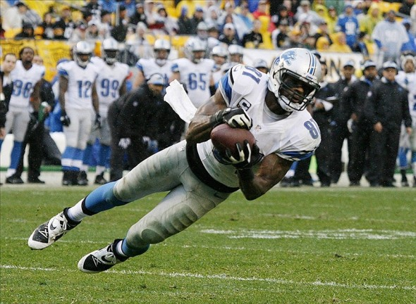Nov 17, 2013; Pittsburgh, PA, USA; Detroit Lions wide receiver Calvin Johnson (81) makes a diving catch against the Pittsburgh Steelers during the second quarter at Heinz Field. The Pittsburgh Steelers won 37-27. Mandatory Credit: Charles LeClaire-USA TODAY Sports