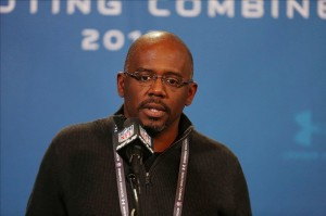 Feb 22, 2013; Indianapolis, IN, USA; Detroit Lions general manager Martin Mayhew speaks at a press conference during the 2013 NFL Combine at Lucas Oil Stadium. Mandatory Credit: Brian Spurlock-USA TODAY Sports