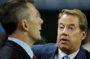 Oct 28, 2012; Detroit, MI, USA; Detroit Lions owner William Clay Ford Jr (right) talks with president Tom Lewand (left) before the game against the Seattle Seahawks at Ford Field. Mandatory Credit: Tim Fuller-USA TODAY Sports
