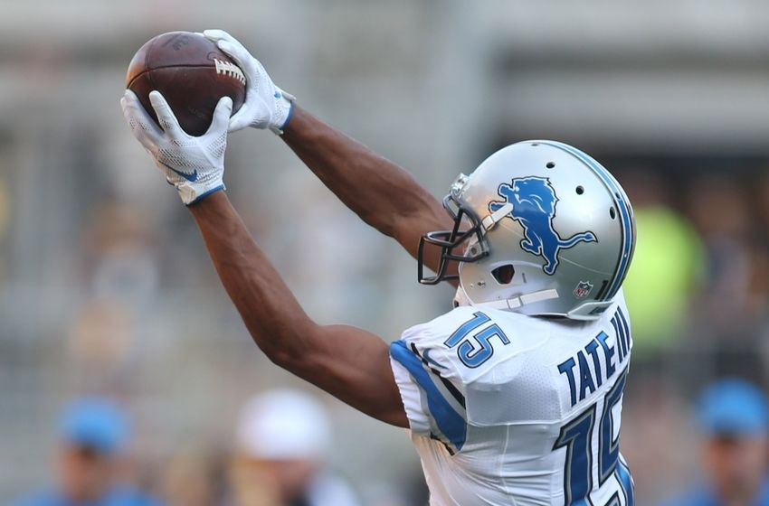 Aug 12, 2016; Pittsburgh, PA, USA; Detroit Lions wide receiver Golden Tate (15) warms-up before playing the Pittsburgh Steelers at Heinz Field. The Lions won 30-17. Mandatory Credit: Charles LeClaire-USA TODAY Sports