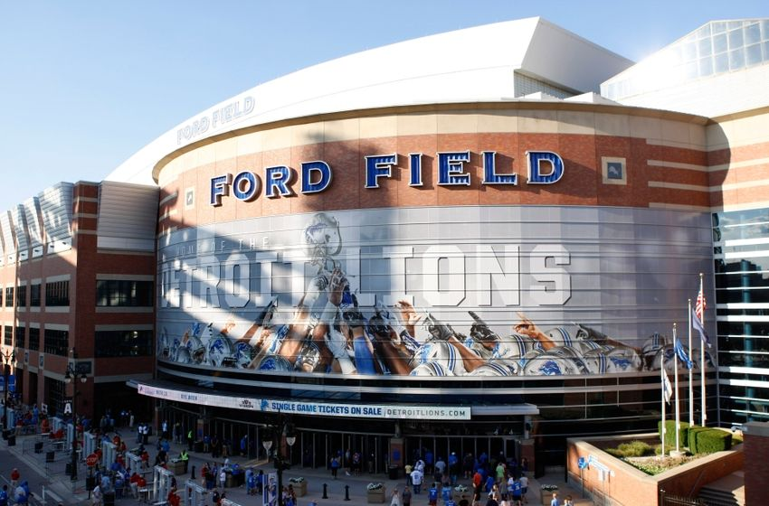 Aug 18, 2016; Detroit, MI, USA; A general exterior photo of Ford Field before the game between the Detroit Lions and the Cincinnati Bengals. Mandatory Credit: Raj Mehta-USA TODAY Sports