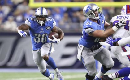 Sep 1, 2016; Detroit, MI, USA; Detroit Lions running back Dwayne Washington (36) runs the ball during the first quarter against the Buffalo Bills at Ford Field. Mandatory Credit: Raj Mehta-USA TODAY Sports
