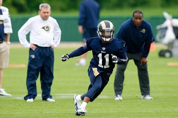 May 10, 2013; St. Louis, MO, USA; St. Louis Rams wide receiver Tavon Auston (11) runs a drill during rookie minicamp at Rams Park. Mandatory Credit: Scott Kane-USA TODAY Sports