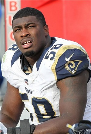 December 23, 2012; Tampa, FL, USA; St. Louis Rams outside linebacker Jo-Lonn Dunbar (58) against the Tampa Bay Buccaneers during the second half at Raymond James Stadium. St. Louis Rams defeated the Tampa Bay Buccaneers 28-13. Mandatory Credit: Kim Klement-USA TODAY Sports