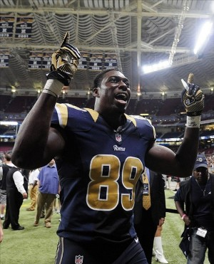 Sep 8, 2013; St. Louis, MO, USA; St. Louis Rams tight end Jared Cook (89) celebrates after defeating the Arizona Cardinals at Edward Jones Dome. St. Louis defeated Arizona 27-24. Mandatory Credit: Jeff Curry-USA TODAY Sports
