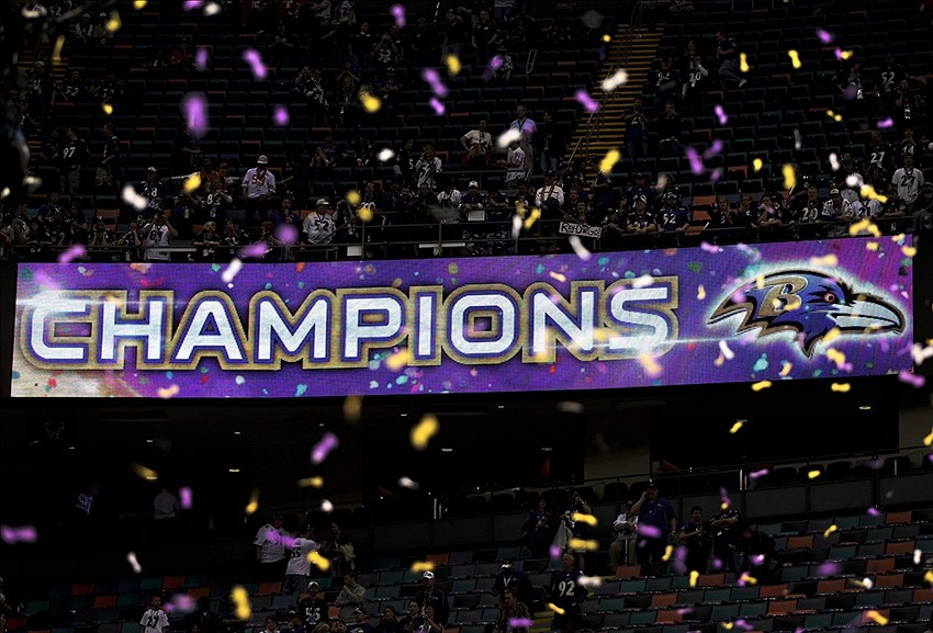 Feb 3, 2013; New Orleans, LA, USA; Confetti falls as an led video board shows the Baltimore Ravens as champions after defeating the San Francisco 49ers in Super Bowl XLVII at the Mercedes-Benz Superdome. Mandatory Credit: Mark J. Rebilas-USA TODAY Sports