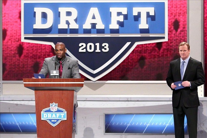Apr 26, 2013; New York, NY, USA; NFL former player Deion Sanders announces the number sixty overall pick to the Atlanta Falcons during the 2013 NFL Draft at Radio City Music Hall. Mandatory Credit: Debby Wong-USA TODAY Sports