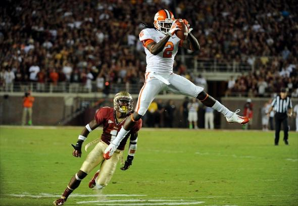 Sept 22, 2012; Tallahassee, Florida, USA; Clemson Tigers wide receiver Sammy Watkins (2) makes a leaping catch over Florida State Seminoles defensive back Tyler Hunter (1) during the first half of the game at Doak Campbell Stadium. Mandatory Credit: Melina Vastola-USA TODAY Sports