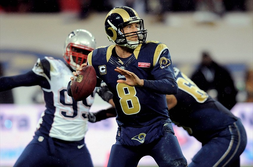 Oct 28, 2012; London, England; St Louis Rams quarterback Sam Bradford (8) during the 2012 International Series game at Wembley Stadium. The Patriots defeated the Rams 45-7. Mandatory Credit: Joe Toth-US Presswire