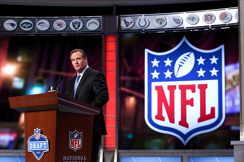 Apr 26, 2013; New York, NY, USA; NFL commissioner Roger Goodell speaks before the second round of the 2013 NFL Draft at Radio City Music Hall. Mandatory Credit: Debby Wong-USA TODAY Sports