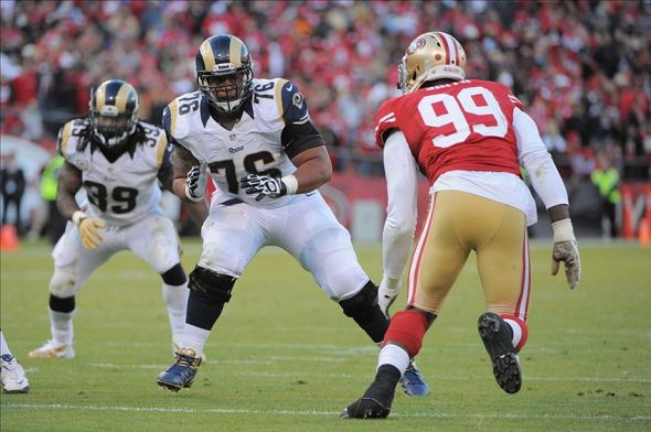 November 11, 2012; San Francisco, CA, USA; St. Louis Rams tackle Rodger Saffold (76) blocks San Francisco 49ers outside linebacker Aldon Smith (99) during the fourth quarter at Candlestick Park. The 49ers and the Rams tied 24-24. Mandatory Credit: Kyle Terada-USA TODAY Sports