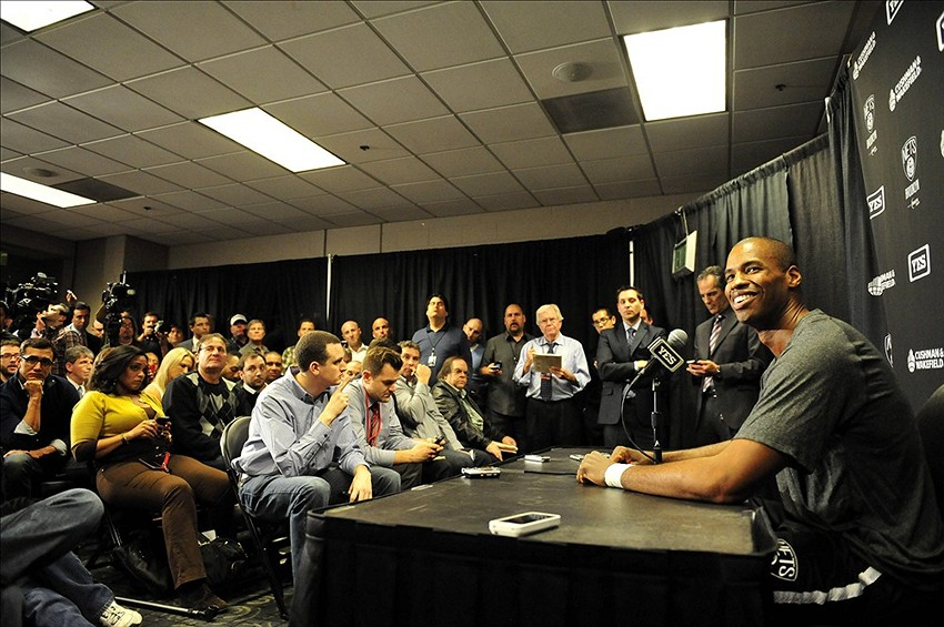 February 23, 2014; Los Angeles, CA, USA; Brooklyn Nets newly signed player Jason Collins speaks to media before playing against the Los Angeles Lakers at Staples Center. Mandatory Credit: Gary A. Vasquez-USA TODAY Sports