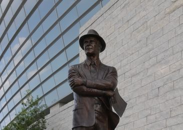 Sep 3, 2016; Arlington, TX, USA; General view of statue of Dallas Cowboys former coach Tom Landry at AT&T Stadium. Alabama defeated USC 52-6. Mandatory Credit: Kirby Lee-USA TODAY Sports