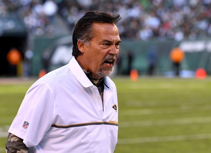 Nov 13, 2016; East Rutherford, NJ, USA; Los Angeles Rams head coach Jeff Fisher argues a call during a game against the New York Jets at MetLife Stadium. Mandatory Credit: Robert Deutsch-USA TODAY Sports
