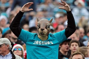 December 23, 2012; Jacksonville, FL, USA; A Jacksonville Jaguars fan wears a squirrel mask in the stands during the second half of the game against the New England Patriots at EverBank Field. The Patriots defeated the Jaguars 23-16. Mandatory Credit: Rob Foldy-USA TODAY Sports