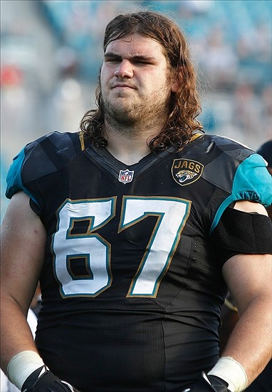 Dec 22, 2013; Jacksonville, FL, USA;Jacksonville Jaguars tackle Austin Pasztor (67) against the Tennessee Titans during the second half at EverBank Field. Tennessee Titans defeated the Jacksonville Jaguars 20-16. Mandatory Credit: Kim Klement-USA TODAY Sports