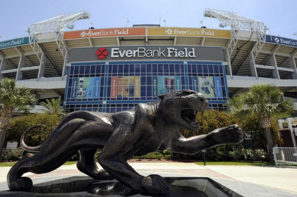 May 9, 2014; Jacksonville, FL, USA; Exterior of EverBank Field where Blake Bortles (Central Florida) addressed the media at the Upper West Touchdown Club at EverBank Field a day after being selected as the third overall pick in the first round of the 2014 NFL draft by the Jacksonville Jaguars. Mandatory Credit: John David Mercer-USA TODAY Sports