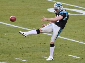 Feb 7, 2016; Santa Clara, CA, USA; Carolina Panthers punter Brad Nortman (8) kicks the ball during the first quarter against the Denver Broncos in Super Bowl 50 at Levi