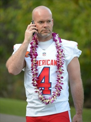 Jan 25, 2013, Ko Olina, HI, USA; Cleveland Browns kicker Phil Dawson (4) talks on a cell phone at AFC media day for the 2013 Pro Bowl at the JW Marriott Ihilani Resort. (Kirby Lee-USA TODAY Sports)