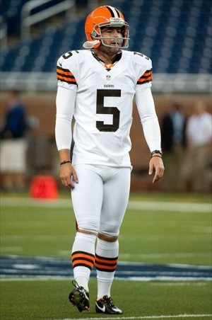 Aug 10, 2012; Detroit, MI, USA; Cleveland Browns punter Spencer Lanning (5) before the preseason game against the Detroit Lions at Ford Field. (Tim Fuller-USA TODAY Sports)