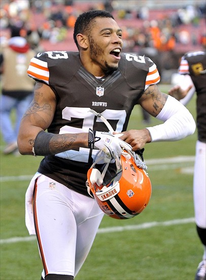 Nov 25, 2012; Cleveland, OH, USA; Cleveland Browns cornerback Joe Haden (23) celebrates after a 20-14 win over the Pittsburgh Steelers at Cleveland Browns Stadium. (David Richard-USA TODAY Sports)