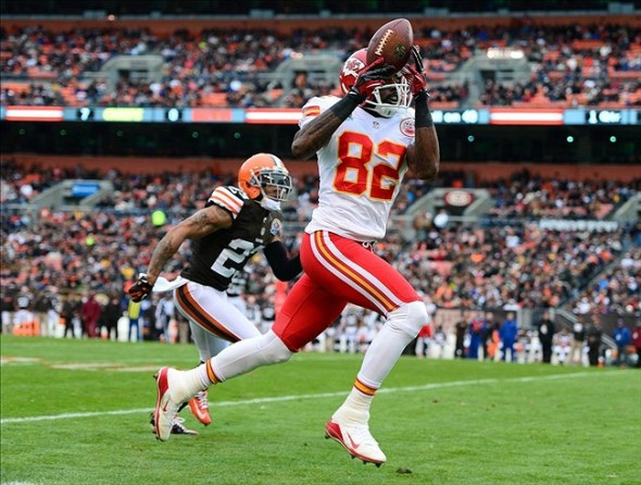 Dec. 9, 2012; Cleveland, OH, USA; Kansas City Chiefs wide receiver Dwayne Bowe (82) makes a catch while being defended by Cleveland Browns cornerback Joe Haden (23) in the first quarter at Cleveland Brown Stadium. (Andrew Weber-USA TODAY Sports)