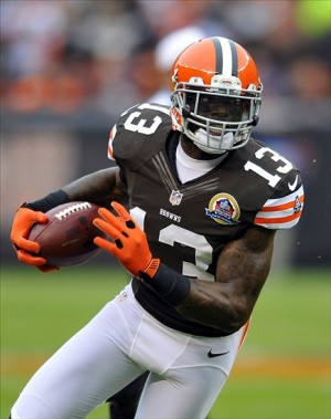Dec 9, 2012; Cleveland, OH, USA; Cleveland Browns wide receiver Josh Gordon (13) runs for a first down after a catch in the first quarter against the Kansas City Chiefs at Cleveland Browns Stadium. (David Richard-USA TODAY Sports)