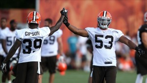 Jul 26, 2013; Berea, OH, USA; Cleveland Browns linebacker Craig Robertson (53) and defensive back Tashaun Gipson (39) high five during training camp at the Cleveland Browns Training Facility. (Ron Schwane-USA TODAY Sports)