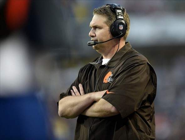 Aug 29, 2013; Chicago, IL, USA; Cleveland Browns head coach Rob Chudzinski watches on the sideline against the Chicago Bears during the first quarter at Soldier Field. Mandatory Credit: Mike DiNovo-USA TODAY Sports