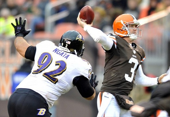 Nov 4, 2012; Cleveland, OH, USA; Baltimore Ravens defensive end Haloti Ngata (92) chases Cleveland Browns quarterback Brandon Weeden (3) in the third quarter at Cleveland Browns Stadium. Mandatory Credit: David Richard-USA TODAY Sports