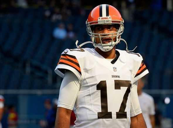 Aug 29, 2013; Chicago, IL, USA; Cleveland Browns quarterback Jason Campbell (17) practices before the game against the Chicago Bears at Soldier Field. Mandatory Credit: Mike DiNovo-USA TODAY Sports